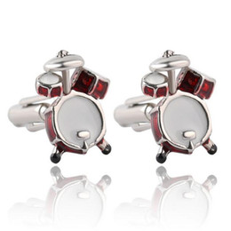 Wholesale Wholesale Drum Accessories - Personality Men Jewelry Music Lover Drum Cufflinks for Men Shirt Accessory Fashion Metal Music Design Cuff Links Hot Sale DHL Free