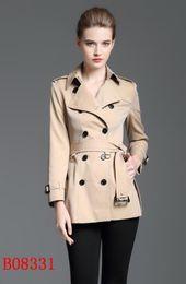 Wholesale Women British Style - NEW Classic! women fashion british double breasted short trench coat brand England designer cotton trench for women size S-XXL Khaki