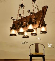 6 Heads Vintage Rh Wood Pendant Lamp Big Retro Rectangle Chandelier Pendant Lighting For Bar Home Decorative