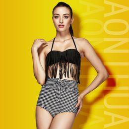 Wholesale Houndstooth Swimsuit - Hot Push Up Backless Bikini Tessels Brazilian High Waist Sexy Plus Size Beach Swimwear Women's Clothes Houndstooth Swimsuit Bathing Bodysuit