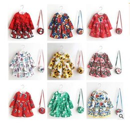 Wholesale Bags For Children Clothes - Kids Girls Dress with Bag Clothing Flower Summer Top Quality Children Clothes Costume for Kids Dresses Party Princess Dress Free Shipping