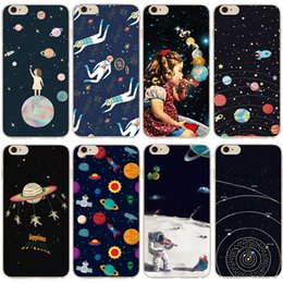 Wholesale Iphone5 Cute - Soft TPU phone case Space planet astronaut pattern Soft TPU Case for iphone5 5s 5se 6 6s 6plus 6splus 7 7Plus back cover cute cartoon case