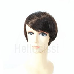Wholesale Cheap Celebrity Lace Wigs - Natural Black Human None Lace Guleless Wig Celebrity Cheap Pixie Cut Brazilian Human Hair Very Short Wig