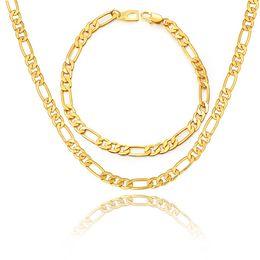 Wholesale Trendy Bracelets For Men - Black Gold Color Stainless Steel Necklace Bracelet Set For Men Jewelry Wholesale 5MM Trendy Long Figaro Chain Bracelet Trendy