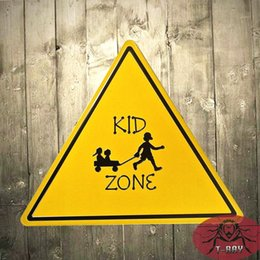 Wholesale T Ray Retro Metal Tin Signs KID ZONE Shaped Hainging Poster Bar Pub Shop outdoor wall plaques A