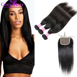 Wholesale Cheap Virgin Brazilian Hair Closures - Wholesale Brazilian Straight Virgin Human Hair Weave Bundles with Top Lace Closure Cheap Hair Extensions 3 Bundles and Weaves Closure 4x4