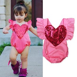 Wholesale Baby Pink Romper Dot - Baby romper INS summer Baby Girls sequins love heart Romper Infant falbala fly sleeve polka dos jumpsuit Valentine's day clothing A0195