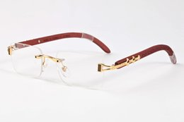 Wholesale Wood Framed Optical Glasses - 2017 brand Men sunglasses Vintage wood bamboo gold silver metal Optical Frame Brand Designer buffalo horn sun glasses women box