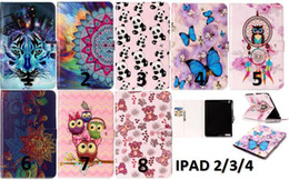 Wholesale Mini Tablet Sleeve - Cartoon Flower Smart Leather Case Stand Pouch For Ipad Mini 1 2 3 4 5 Ipad 2 3 4 Air 2 Ipad6 tablet Tiger Owl Butterfly Cards Cover 25pcs