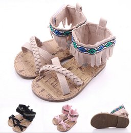 Wholesale Girls Flower Canvas Shoe - Fashion New Fringe Baby Summer Shoes Infants Outdoor Crib First Walkers Hard Sole Antislip Toddlers Princess Shoes