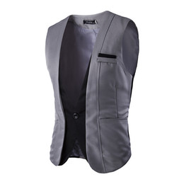 Wholesale Patch Suit Design - Wholesale- Suit Vests Men 2016 Fashion New Faux Two Piece Patchwork Formal Dress Vest Sleeveless Single Breasted Slim Fitness Waistcoats