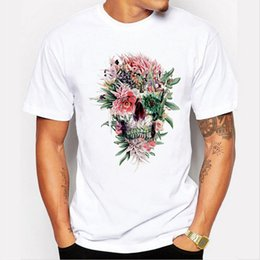 Magliette floreali estive t-shirt online-2018 Mens Summer Hipster Floral Skulls Design T Shirt Popolare personalizzato stampato Top Fashion Tees harajuku rock tshirt 6549
