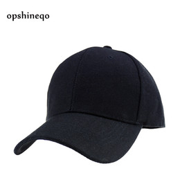 Wholesale Snapback Adult Hats - Wholesale- Opshineqo Black Adult Unisex Casual Solid Adjustable Baseball Caps women Snapback hats white baseball cap hat men