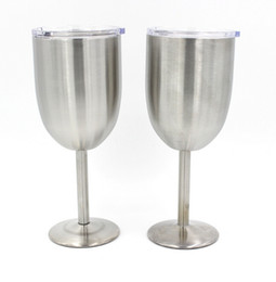 Wholesale Wave Wall Decoration - 10oz Wine Cups Wine Glasses Stainless Steel Tumber 10oz Double Wall Insulated Metal Goblet With Lid Tumbler Mugs