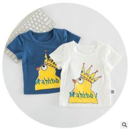 Wholesale Toddlers Christmas T Shirt - Baby T-shirts 2017 Summer Short Sleeve Crown Rooster Printed Tops Tees Boys and Girls T-shirts Kids Clothing Infant Toddler Newborn Clothes