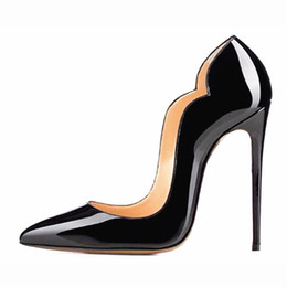Wholesale Naked Dresses - 2017 New women's high heels naked shallow shoes single leather shoes ladies sexy party shoes evening dress 12cm heels stilet (6colors)