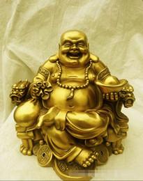 Wholesale Antique Wood Statue - SUIRONG---2017 612 + + + l'ouverture de Maitreya de cuivre Bouddha assis là Rire Bouddha statues fo Zhaocai bronze artisanat