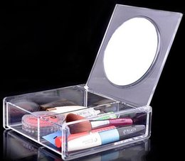 Wholesale Transparent Crystal Jewelry Box Wholesale - Fashion Square 2 space Transparent Crystal Storage Box makeup Organizer Cosmetic Acrylic Clear Jewelry Display Case with Mirror DHL 72pcs