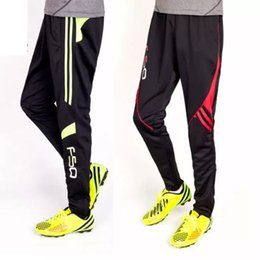 Wholesale Football Training Trousers - Wholesale- 2016 New Professional Soccer Training Pants Slim Skinny Sports Polyester Football Running Pants Tracksuit Trousers Jogging Leg
