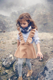 Wholesale Autumn Suspender Dress - 2017 Autumn New Girls Dresses European American Style Flare Sleeve Knitted Cotton Strap dress Children Clothing 2-8Y 30523 E011