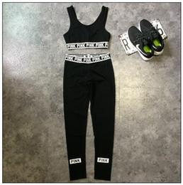 Wholesale Cotton Crop Trousers - Pink Tracksuits Pink Crop Tops Pants Pink Letter Sports Suit Women Sweat Suit Camis Vest Trousers Fashion Jogging Sportswear CCA7824 30set