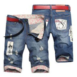 Wholesale Samurai Fashion - Wholesale-Men's fashion samurai patch ripped jeans Hole roll up hem denim shorts for man Capri breeches Free shipping