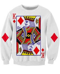2019 rey de cartas King of Diamonds Crewneck Sweatshirt the playing card puente vibrante Mujeres Hombre Sudaderas Sudaderas con capucha Tops Ropa de moda Tallas grandes rey de cartas baratos