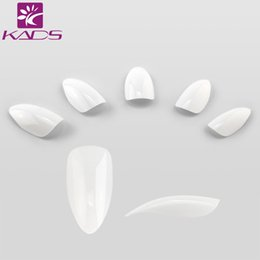 Wholesale Clear Fake Nails Full Cover - Wholesale-KADS 500pcs set White & Natural & Clear Nails French Stiletto Fake Nail Tips Full Cover Acrylic Artificial False nail tips