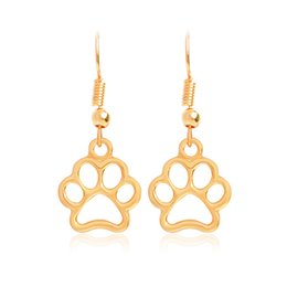 Wholesale Gold Metal Studs - Hollow Dog Paw Print Drop Earrings Charm Claw Metal Dangle Earrings For Women Girl Sister Dog Owners Fashion Ear Jewelry Gift