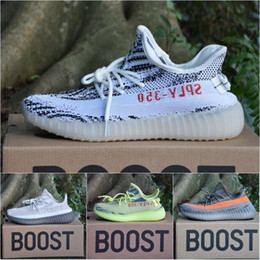 Wholesale Women Spring Summer - With Box Adidas Originals Yeezy 350 V2 Boost Kanye West 2017 Top Quality Running Shoes Zebra Bred Black Orange Stripes Sneakers Size 36-46