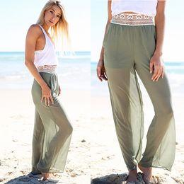 Wholesale High Low Sheer Waist - Panelled Hollow Out Hole Zipper Flare Culottes See Through Sheer Wide Leg Pants Women Fashion Low Waist Pantskirts Russian Women Bottoms
