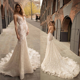 Wholesale Plunging Neckline Mermaid Wedding Dresses - Berta 2018 Plunging Neckline Mermaid Wedding Dress Delicate Sash Appliques Bridal Gowns Sweep Train Backless Wedding Dress