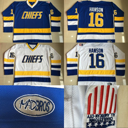 Wholesale Red Slap - #16 Jack Hanson Charlestown Chiefs Jersey, Men's Hanson Brother Slap Shot 100% Stitched Embroidery Logos Movie Hockey Jerseys Blue White