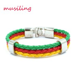 Wholesale Red Flag Design - World Cup National Flags Color Sports 3 Strands Rope Braided Leather Bracelet Men Wristband Bracelets Watchband Design Accessories Jewelry