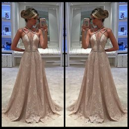 Wholesale Nude Beautiful - Lace Prom Dresses vestidos de fiesta Halter A Line Sleeveless Crystal Beaded Lace Sexy Sweep Train Beautiful Hand Made Evening Party Gowns