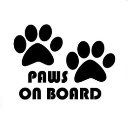 Wholesale Vinyl Car Silver - 10.5CM*7.5CM Paws On Board, Dog, Puppy, Foot Car Sticker Car Styling Black Silver C8-0013