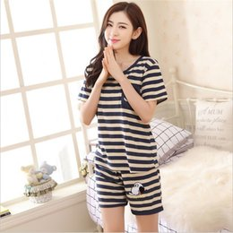 Wholesale Hot Nightwear For Women - Wholesale- Hot Casual Women Pajamas Set Striped O-Neck Short sleeve Pyjamas For Women Summer Nightwear cozy Milk Wire Sleep Suit