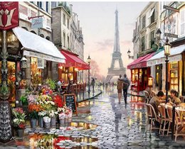 Wholesale Diy Picture Rooms - Paris Street DIY Painting By Numbers Handpainted Canvas Painting Home Wall Art Picture For Living Room Unique Gift 40X50