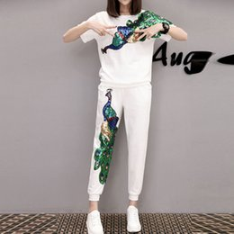 Wholesale Casual Suits For Ladies - Peacock Sequin Plus size Tracksuits Women Pants Set 2017 FashionSummer Trousers Suits Short Sleeve Sport Costumes for Ladies Two Piece