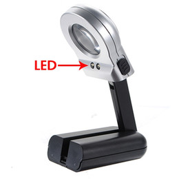 Wholesale Loupe Magnifying Glass Illuminated - Hot Magnifiers High Standard 16X 30mm Illuminated Magnifier Magnifying Glass LED Folding Stand Jewelry Loupe Watch Repair Tools