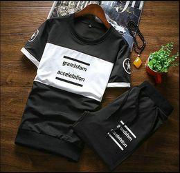 Wholesale Suits Teenager - Short Sleeve T-shirt Pants 2pcs Set for Summer Men's Clothes Fashion Slim Letter Tracksuit Casual Mens Sets Teenagers Model Suit 3XL 4x