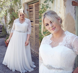Vestidos de novia más tamaño grande online-Elegante 2017 Más el tamaño de vestidos de novia con mangas de una línea de gasa y encaje grandes mujeres vestidos de novia por encargo Vestidos De Novia
