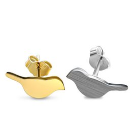 Wholesale Bird Pair - One Pair Fashion Bird Earrings For Women Girls 925 Sterling Silver 18K Gold Plated Stud Earrings Jewelry Pendientes Brincos Brushed Finish