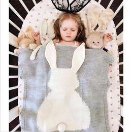 Wholesale Crochet Thread Wholesale - Rabbit Ear Hand Knit Crochet Baby Blanket Swaddle Wrap Baby Crochet Swaddles 3D Blankets Air Condition Bath Towels
