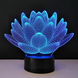 Wholesale Deco Tables - 3D optical illusion Night Lights Methacrylate plate Desk Table Lamp Bulb Lotus Flower USB Novelty Bedside lampad Home Deco Lampy