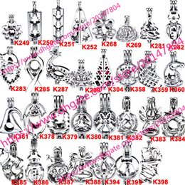 Wholesale Brass Charms Pendants - 398 Designs - Akoya Oyster Bead Pearl Cage Christmas Gift Cage Locket Pendant Open Wish Charms