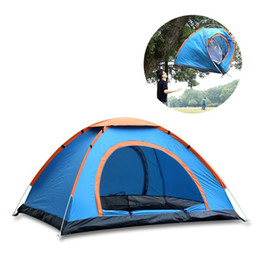 Wholesale Tent Rainproof - Wholesale- 2 Persons Fully Automatic Tent Portable Rainproof Tent Casual Double Layers Outdoor Camping Hiking Fishing Tent Free Shipping