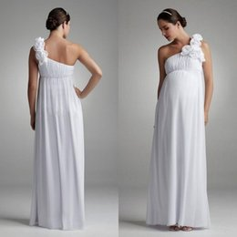Wholesale Maternity Dresses For Beach Weddings - Beach Maternity Wedding Dresses for Bride One Shoulder Strap with Hand-made Flowers A Line Long White Chiffon Empire Pregnant Bridal Gowns