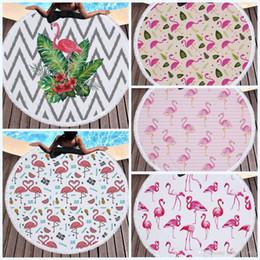 handtuch stoff stoff Rabatt Quasten-Strand-Tuch-runder Flamingo-weicher Gewebe-Tapisserie-praktischer Tischdecke-Sonnenschutz-Schal-Picknick-Matte Tragbare Decke 32jm J R