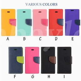 Wholesale Iphone Soft Flip - Mercury Wallet Case Leather PU Soft Colorful Cases Folio Flip Cover Kickstand For iPhone 7 6 6s plus Samsung S7 S6 Note 5